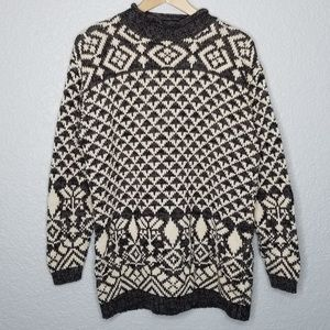 Vintage Chunky Knit Mock Neck Oversized Sweater L